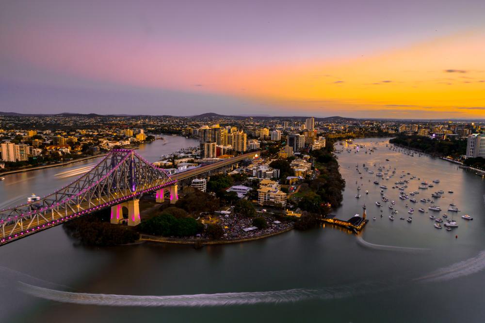 Sunset Flight - Story Bridge & Brisbane City