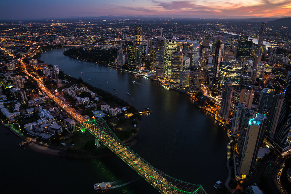 Sunset Flight - Brisbane River & City