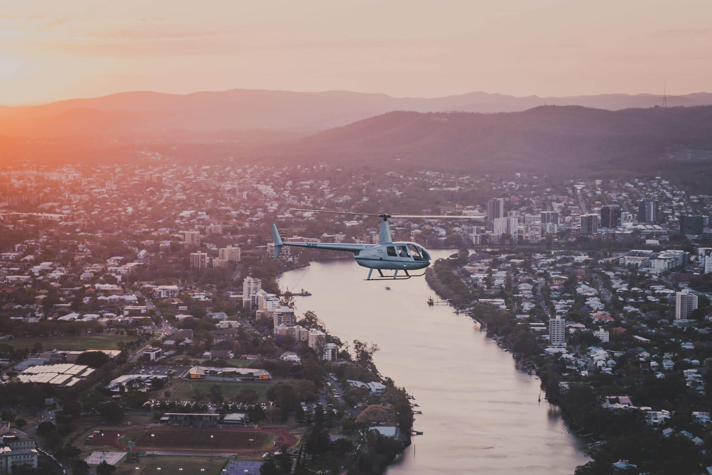 Helicopter at Sunset Brisbane