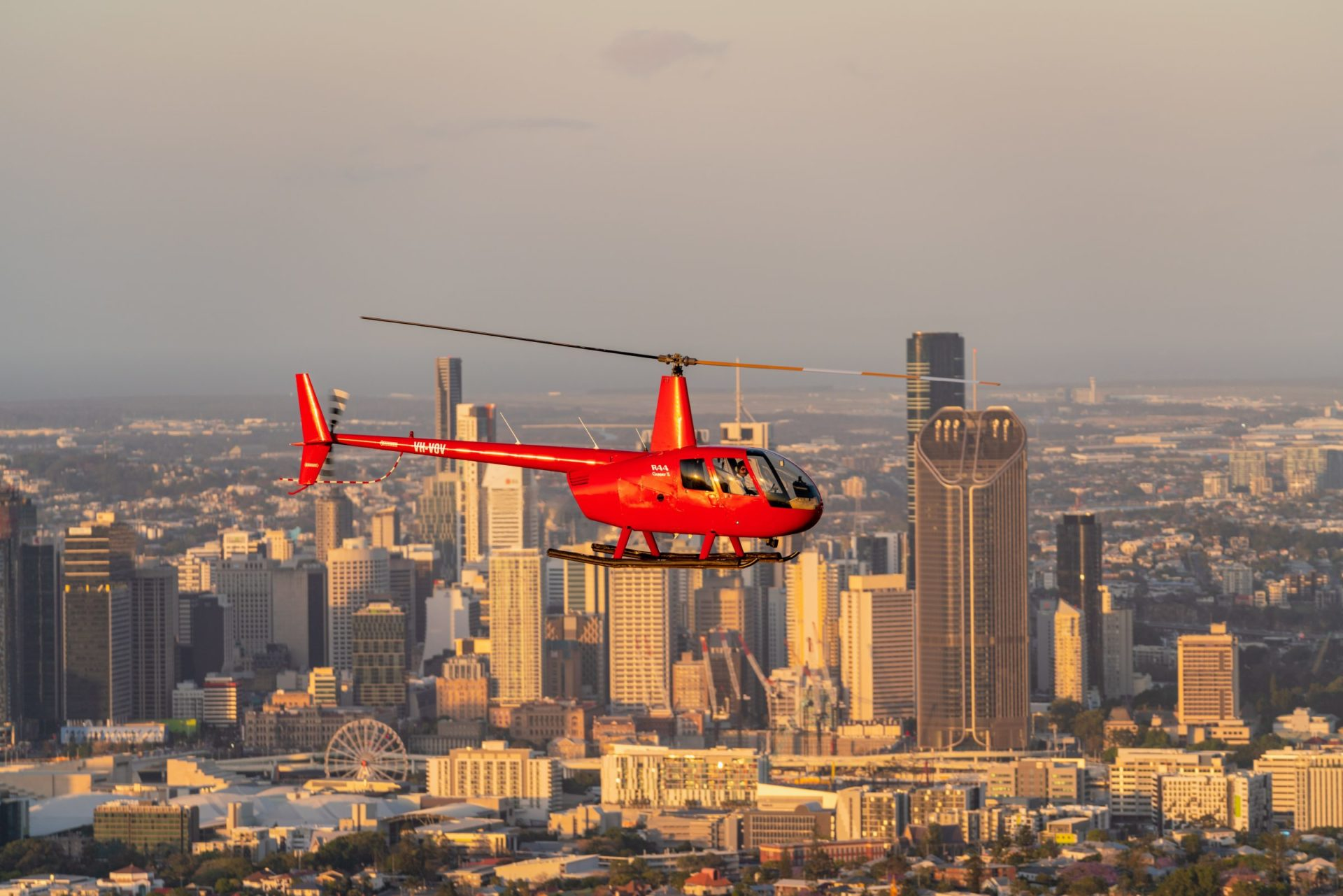 R44 Helicopter over Brisbane City