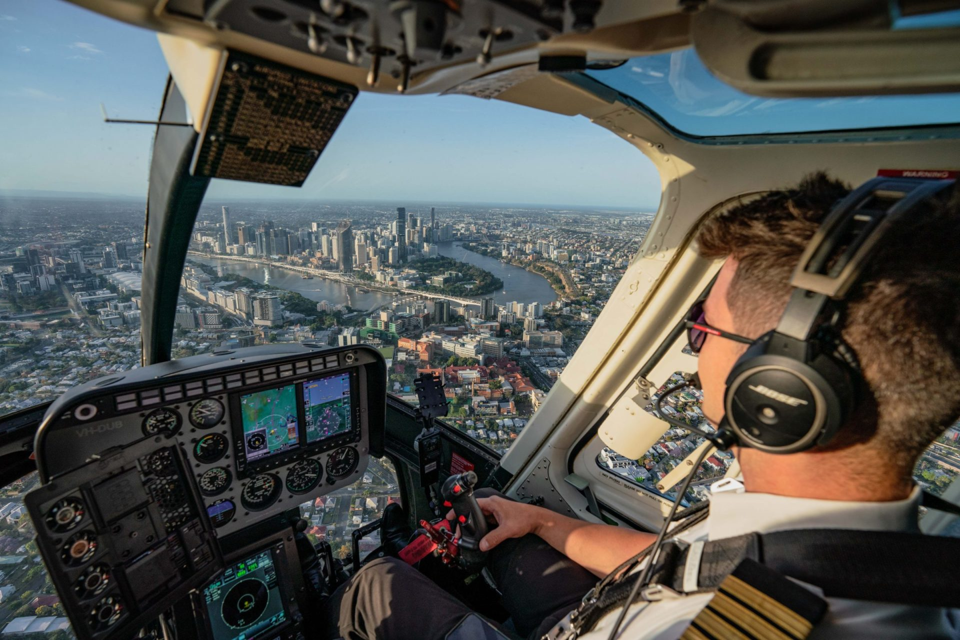 Brisbane city from cockpit of Bell Longranger